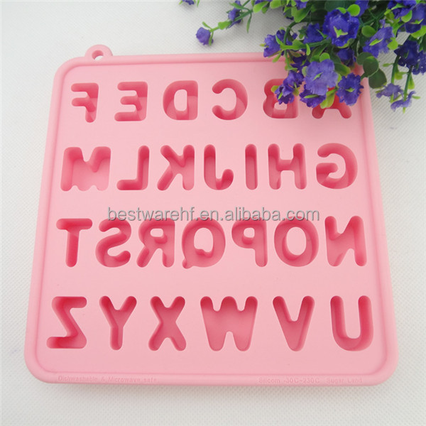 Fancy silicone ice cube tray with alphabet letter A to Z shaped
