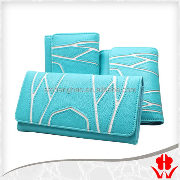 blue fasion and special design PU leather lady wallet