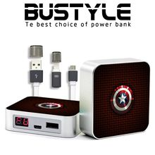 Bustyle new Captain America design 6600mah portable mobile power bank with competitive price for promtion