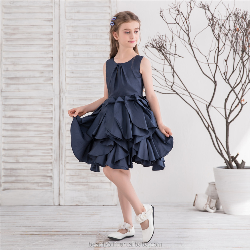 Princess Girl Pageant Dress Nave blue teffta layer Flower Girls Dresses For Weddings Kids Evening Gown brithday party gowns
