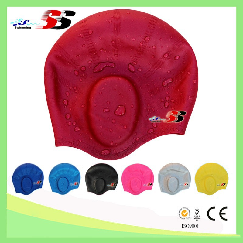 New arrival custom design swim cap, ear protection silicone swim cap for adults