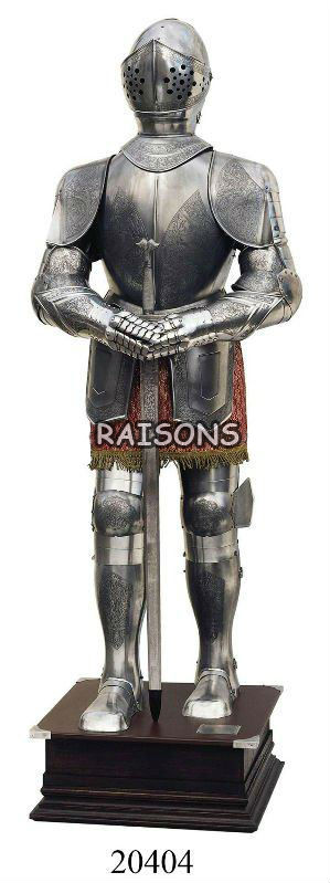 Medieval Steel Full Body Armor Suit with Sword