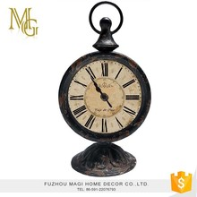 Customized aged antique home decoration metal desk clock