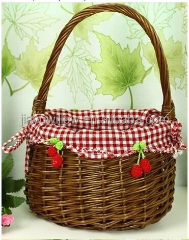 Handmade Set 3 Grey Wicker Vegetable Storage Basket Stand