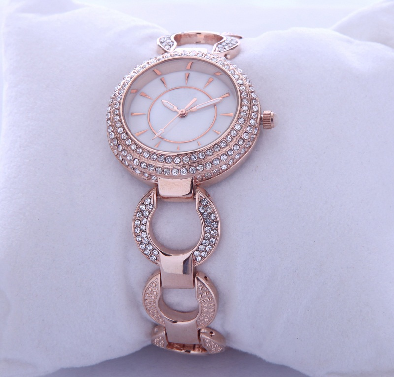Assisi brand Fashionable Rhinestone Stainless Steel Back Ladies Bracelet Wrist Watch