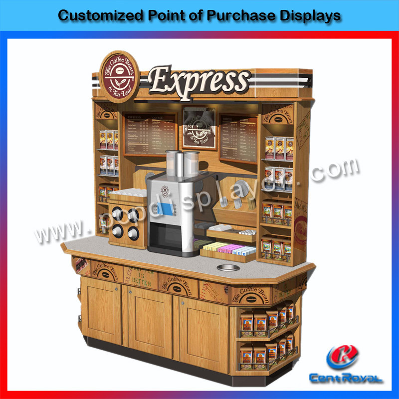 Hot sale coffee shop floor standing wooden coffee display stand