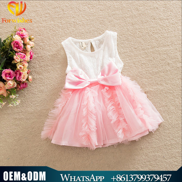 Kids clothing big bowknot lace dress childrens boutique summer dress