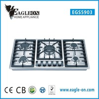 hot sale stainless steel 5 burner gas hob