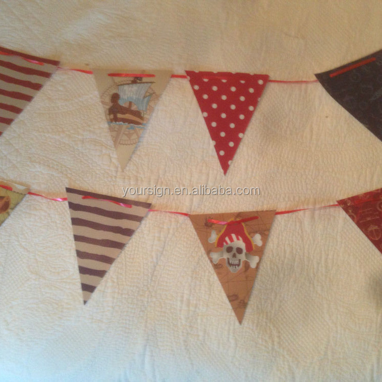 PVC Colorful Custom Printed Triangle Flag Bunting For Sales Promotions