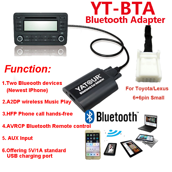 Yatour Bluetooth Car radio kit for Toyota/Lexus>Newest IPhone Car radio player/HFP Phone call hands-free kit