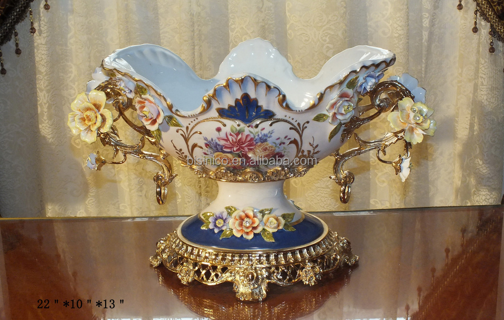 "Luxury French Palace Vintage Home Decoration/Classic Porcelian Fruit Plate/Fruit Tray/Fruit Bowl With Brass Handle & Base,13.5""H"