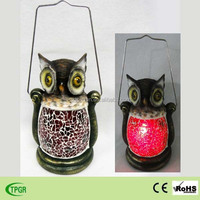 solar powered animal shape resin owl glass lantern