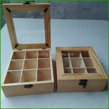 Christmas Gift Wood Tea Box With Window On Top