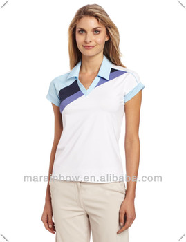 2014 New stylish OEM design Topgrade quality Golf Women's V neck Polo made in China wholesale