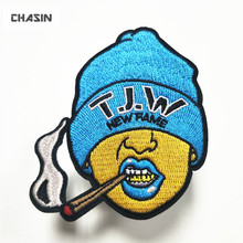 custom your own brand name logo embroidery iron on applique patch for clothes hats