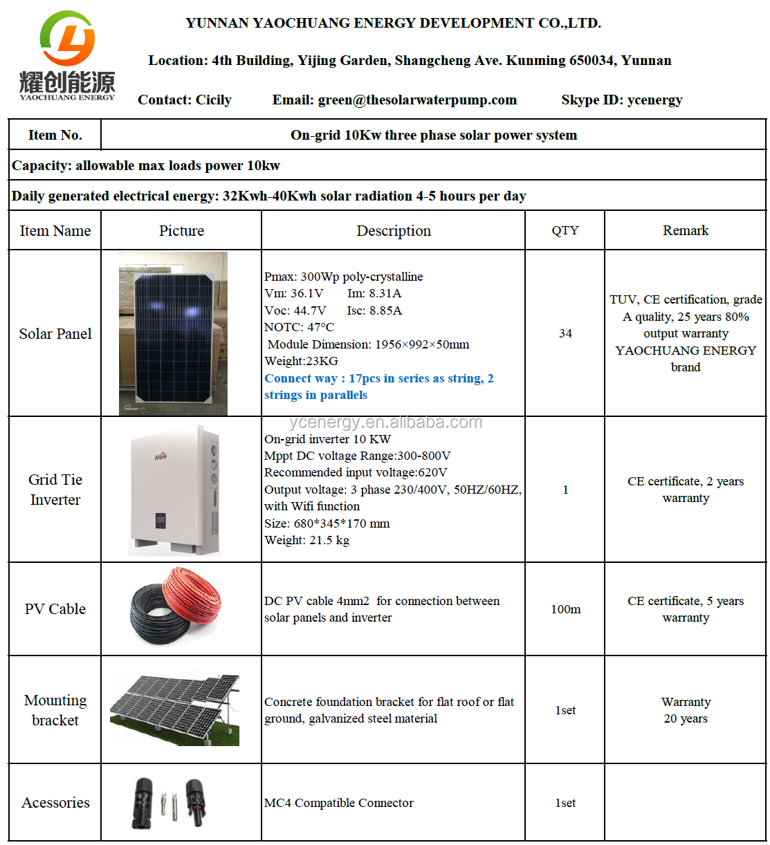 High efficiency 5kw 10KW 15kw 20kw Grid Tie Solar Power System On grid solar panel system with grid tie inverter
