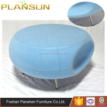 Modern classic style leisure furniture upholstered fabric Pebble Scalloped Seat ottoman