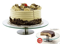 "360 Degrees Glass Revolving Cake Dessert Stand Holds Up to 12"" Size"