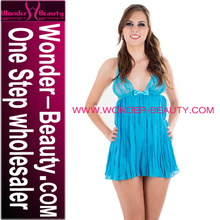 Hot Sexy Open Big Bust Royal Blue Transparent Babydoll