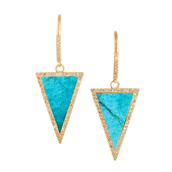 Fashion handmade women girls triangle natural turquoise earrings