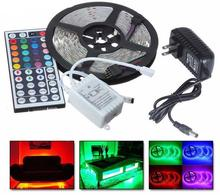 led strip light 5m 5050 12v dc 300leds flexible strip light IP65 waterproof <strong>RGB</strong> color+44key remote+3a Power supply