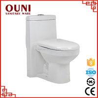 ON-148 Hot selling easy clean one piece plain white ceramic siphonic shower toilet