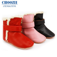 Fashion Winter Genuine Soft Sole Leather Unisex Baby Fur Boots Shoes for Boys and Girls