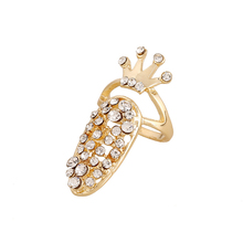 Hot Sale Newest Design Fashion Austrian Crystal Crown Rings Hollow Gold Silver Plated Nail Rings For Chic Girls Women