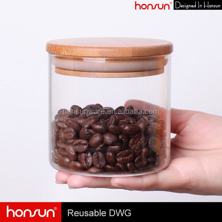 380ML Round Shape Glass Jar with Silicone Sealed Wooden Lid