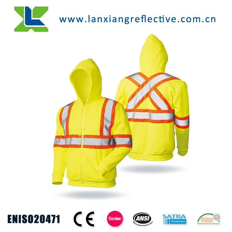 LX910 Outdoor Windstopper Polar Fleece Reflective Safety Hoodie