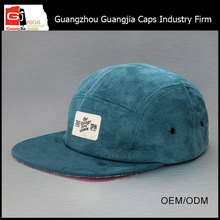 Guangjia Cap Factory Wholesale Custom Printed Brim 5 Panel Camp Cap With Label Patch Logo