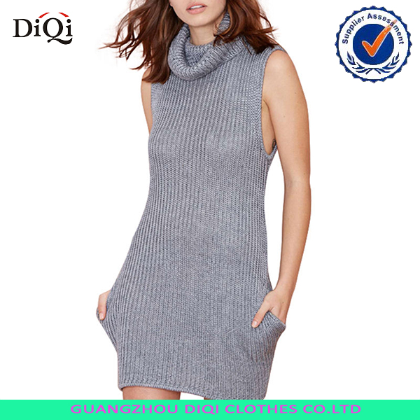 Women Casual Sleeveless Cable Knit Turtleneck Pullover Long Sweater Vest