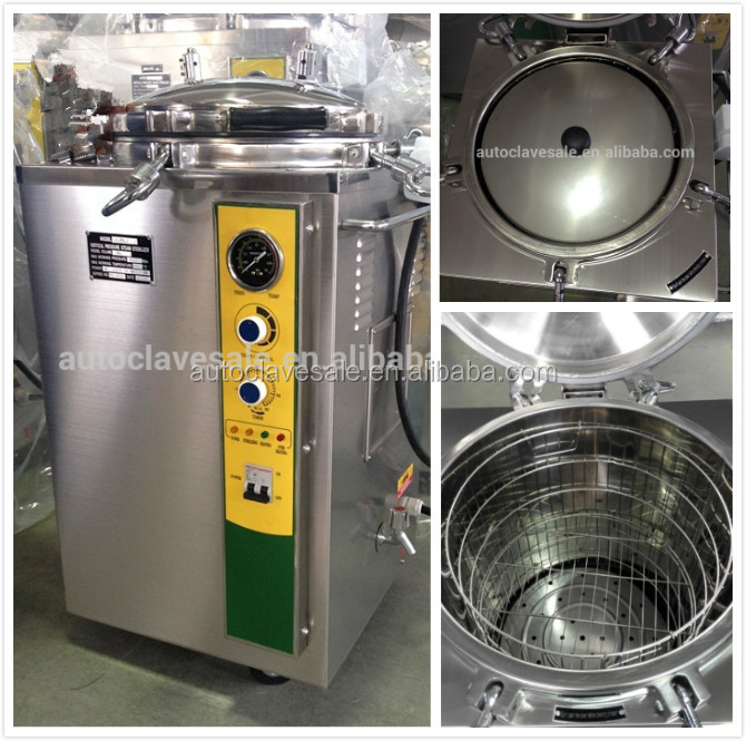 High class steel vertical pressure steam sterilizer VA-FJ autoclave with automatical control system double sterilizing baskets