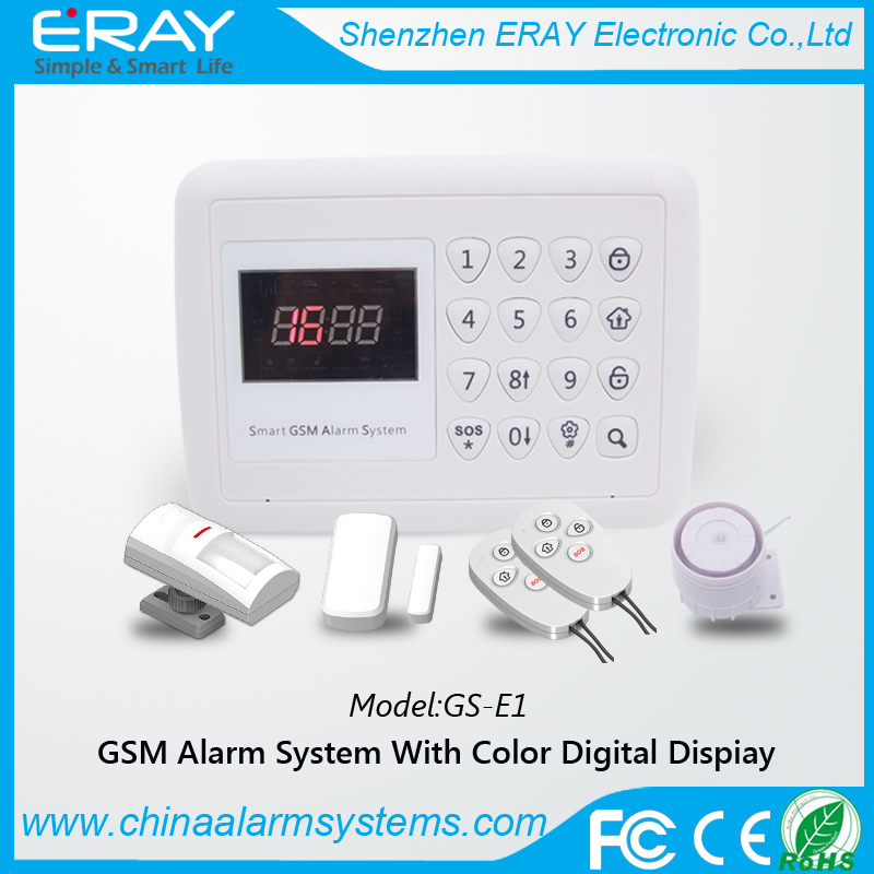 Wireless digital auto dial home security alarm system with colorful digital LCD display