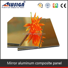Alusign gold/silver mirror finish standard size acp sheet aluminum sheet panels