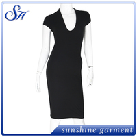 Newest style most popular plain deep v neck dress for women