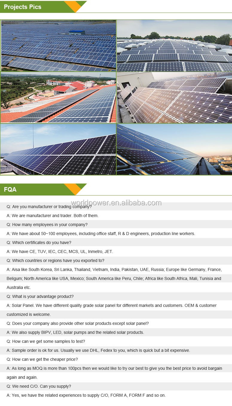 Chinese Best 200W 240W 300W Solar Panel Prices m2/Solar Cell