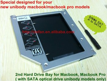 New Design Hard Disk Enclosure 2nd HDD Hard Drive Optical Bay Caddy for Apple Macbook Pro Unibody Tray