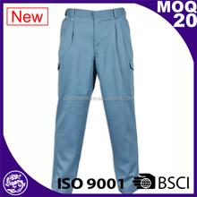 Men's Blue Cotton Safety Cargo Work Pants Workwear Working Trousers