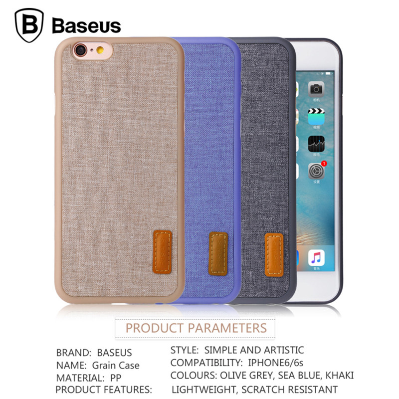 BASEUS Grain Series Thin Shockproof Cloth Back Case for iPhone 6 6s 4.7 inch Mobile Phone Protective Case Phone Back Shell Cover