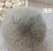 Wholesale Rabbit Fur Ball Keychain13 Colors Highly 8CM Big Metal Geniune Fur Ball Keyring Bag Charm fur ball pom pom keychain