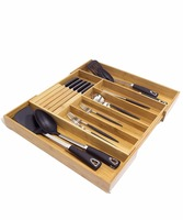 100% Eco Friendly extendable Kitchen Utensil Bamboo Cutlery Tray