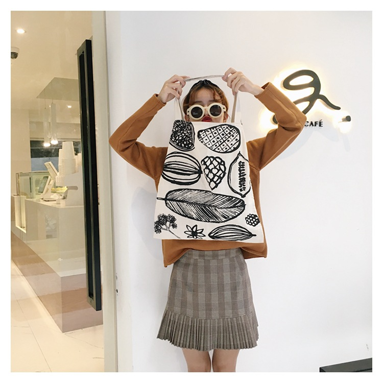 New custom large capacity shoulder bag simple summer print canvas bag female online wholesale cotton tote bag stock