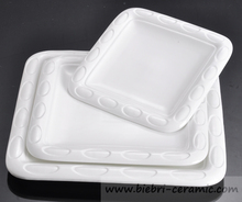 10 inch Plain White Artwrok Customized Square Shape Ceramic Restaurant And Hotel Plates And Dishes