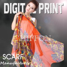 digital print Chiffon Scarf 2018 newest ladies' Silk Scarves -y