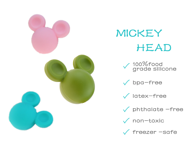 20mm Mickey Silicone Beads Animal Food Grade Teething Beads