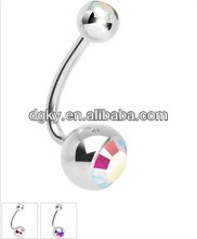 Double Stainless steel Aurora J-Curve Belly Ring