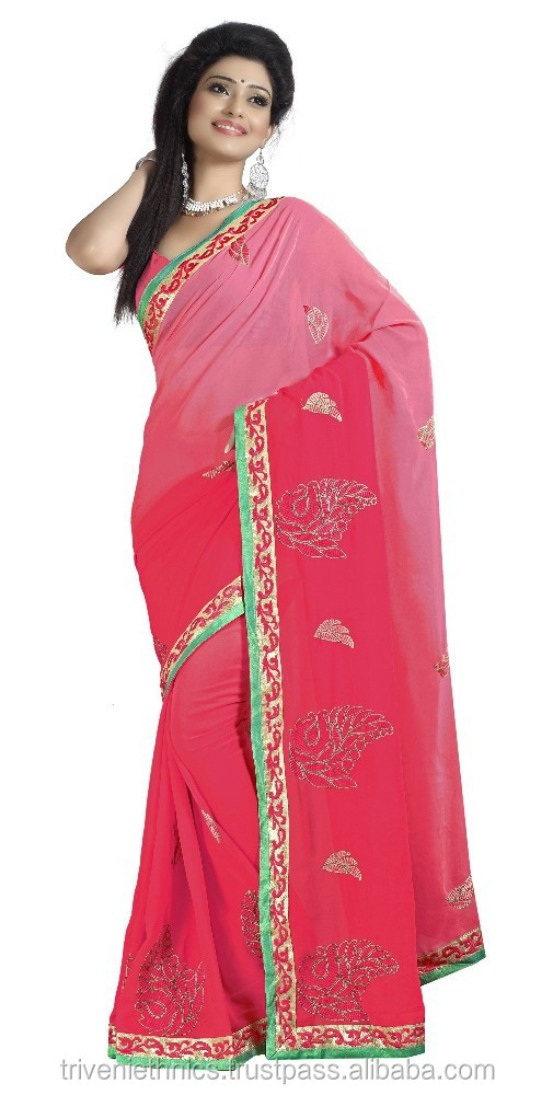 Patch work Red Colored Saree