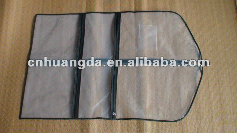Clear plastic garment bag with pockets
