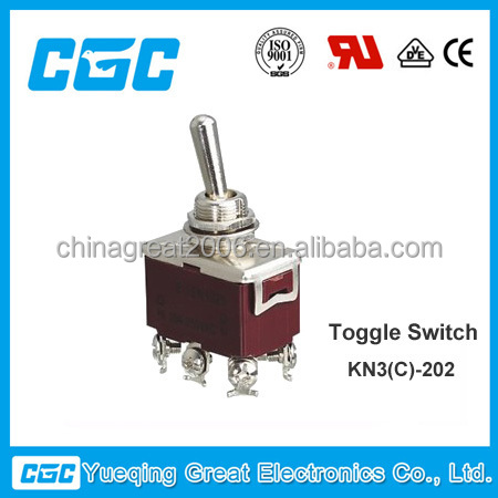 KN3(C)-202 6 screw pins on off on 2 pole double throw 10a,15a 250vac toggle switch 220v